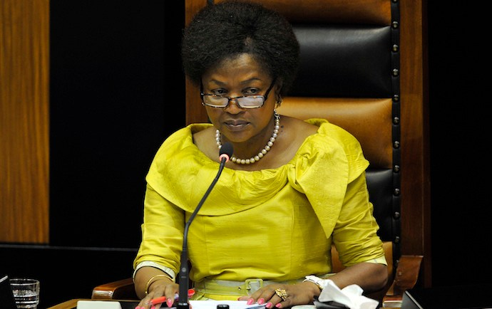 CAPE TOWN, SOUTH AFRICA ñ SEPTEMBER 16: Baleka Mbete during motion of no confidence in the her as National Assembly Speaker on September 16, 2014 in Cape Town, South Africa. COPE, DA, EFF, FFP and UDM submitted the motion of no confidence as they said that Mbete stood in the way of vigorous and open debate. (Photo by Gallo Images / Foto24 / Denvor de Wee)