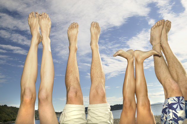 Legs and feet up in the air