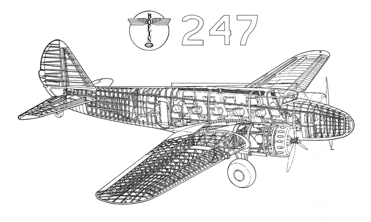 Boeing 247 Line Drawing How Things Fly - line drawing