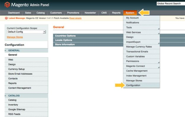 Magento Admin Panel | System Configuration