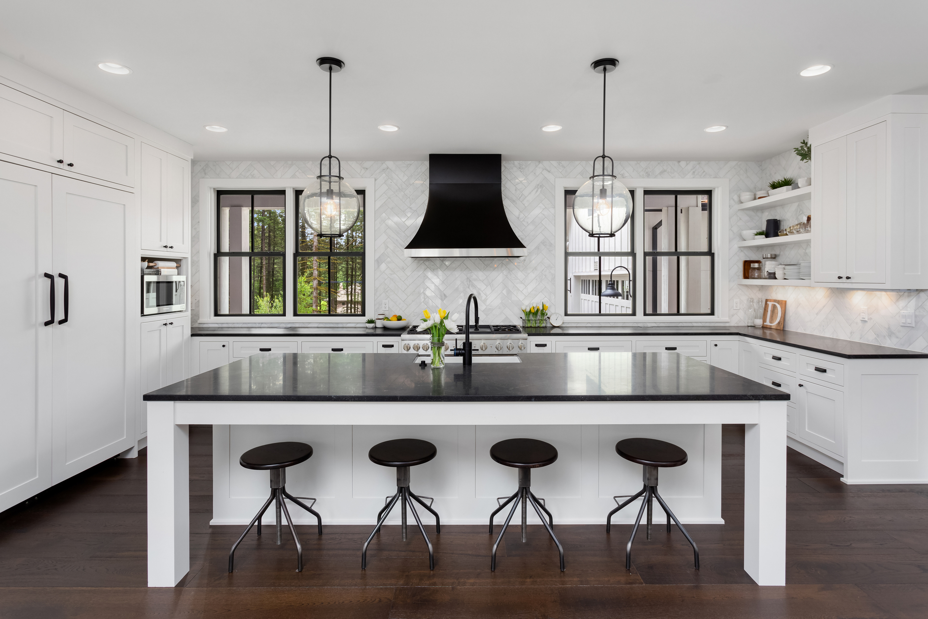 Opposites Attract White Cabinets Black Granite How To Build It