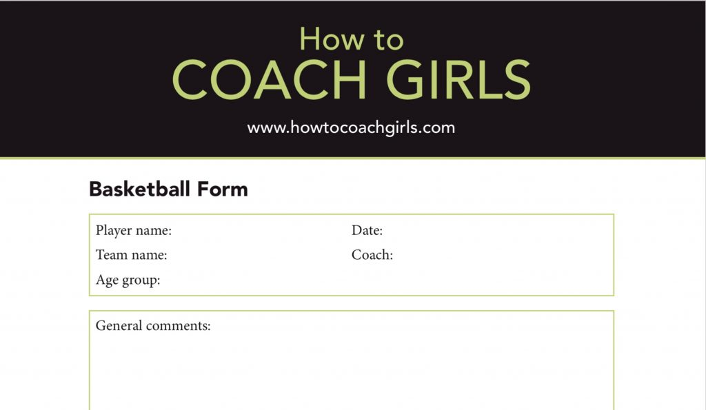 Basketball Player Evaluation Downloadable Form How to Coach Girls