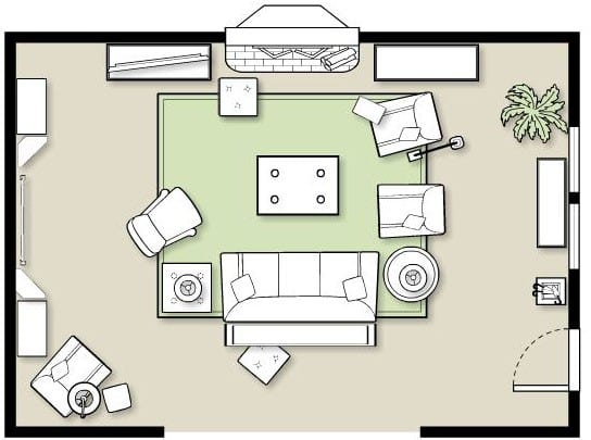 furniture placement in large living room layout