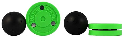 Green Biscuit compared to a stick handling ball