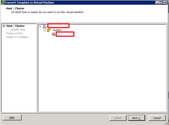 VMware ESXi - Convert Template into VM - Host and Cluster