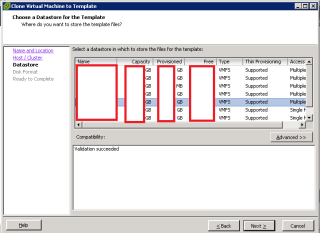 VMware ESXi - Clone to Template - Database