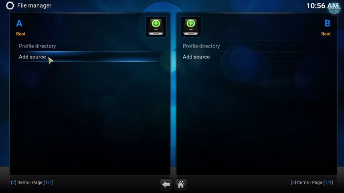 Adding source in kodi file manager