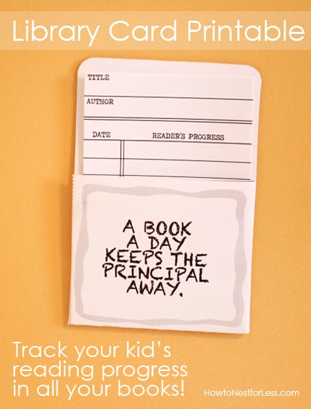 LIBRARY CARDS track your kid\u0027s reading progress {free printable