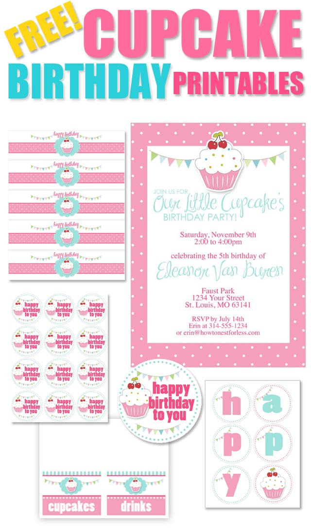 Cupcake Themed Birthday Party with FREE Printables - How to Nest for