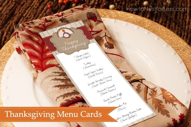 Thanksgiving menu cards free printable - How to Nest for Less™