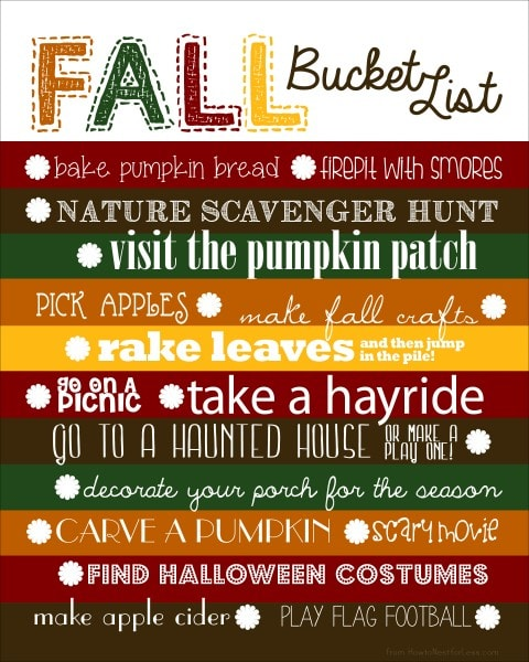 Fall Bucket List {and free template} - How to Nest for Less™