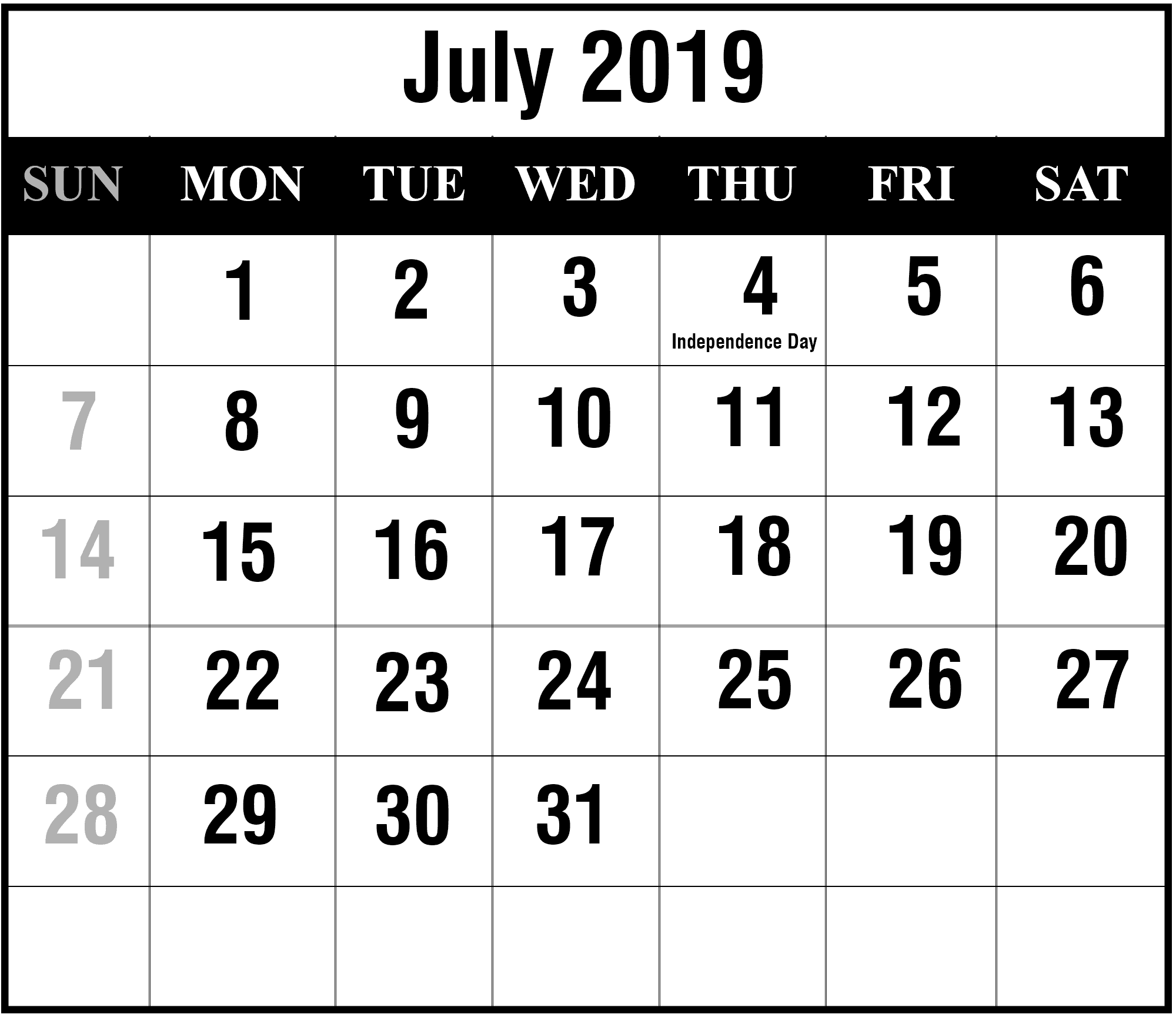 How to Schedule Your Month with July 2019 Printable Calendar How