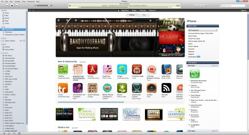 iTunes Store Page After Sign Out