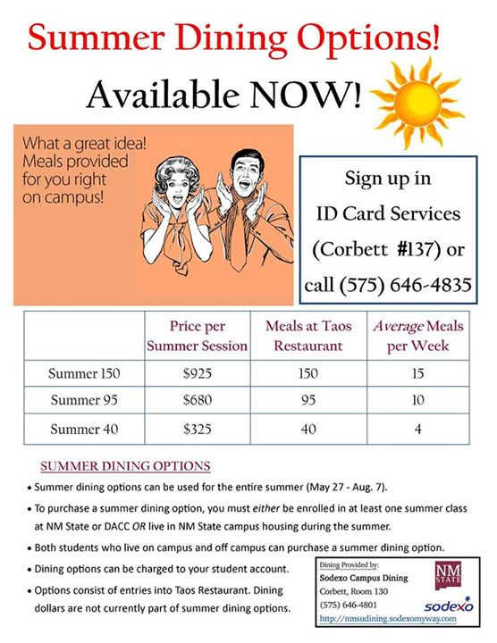 Summer Meal Plans ID Card Services New Mexico State University - meal plans