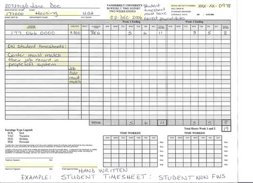 Timesheet Examples Payroll HR Compensation Human Resources - sample payroll timesheet
