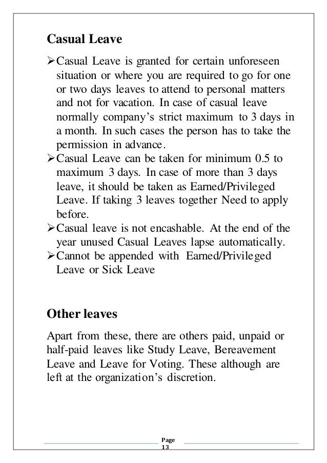 Casual Leave Human Resource Management - casual leave application