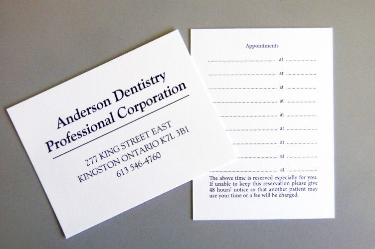 Anderson Dentistry Appointment Cards