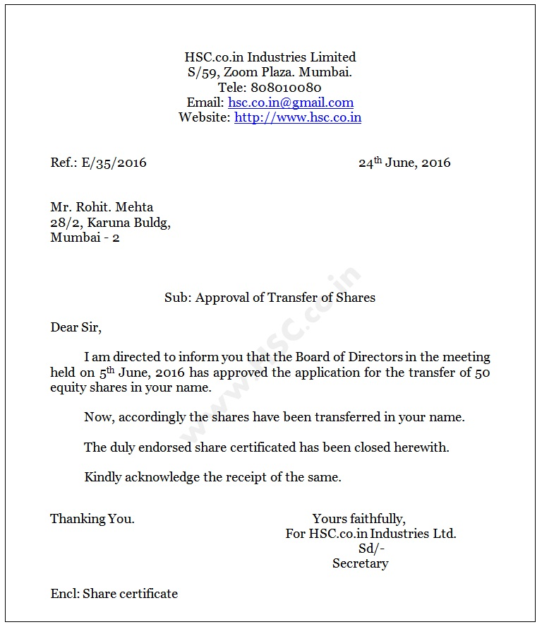 Letter \u2013 Approval of Transfer of Shares to Transferee \u2013 HSC \u2013 Higher