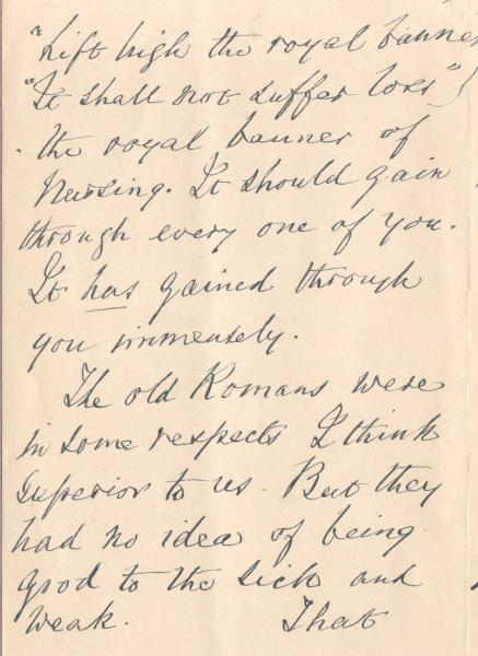 Letter to Nursing Students 28 May 1900 - Health Sciences Library