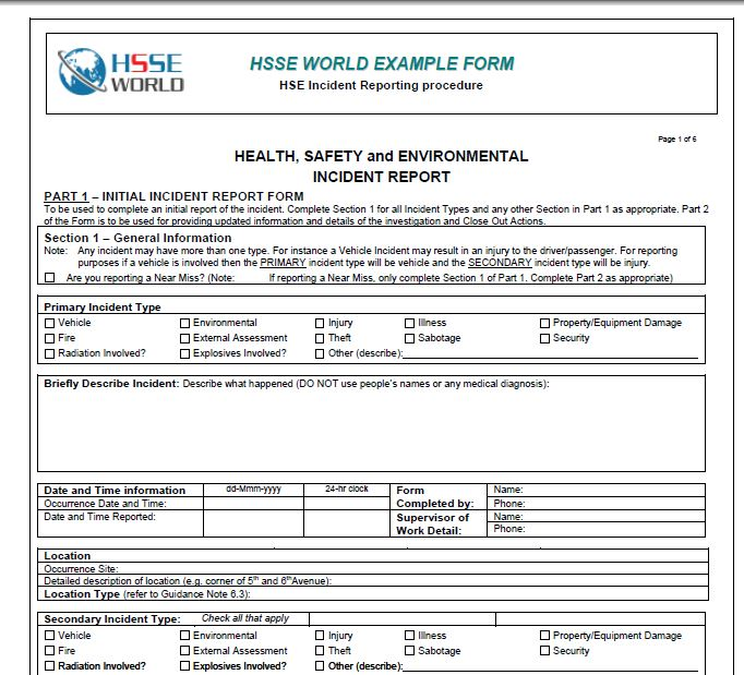 Incident Report Form - HSSE WORLD - Incident Reporting Form