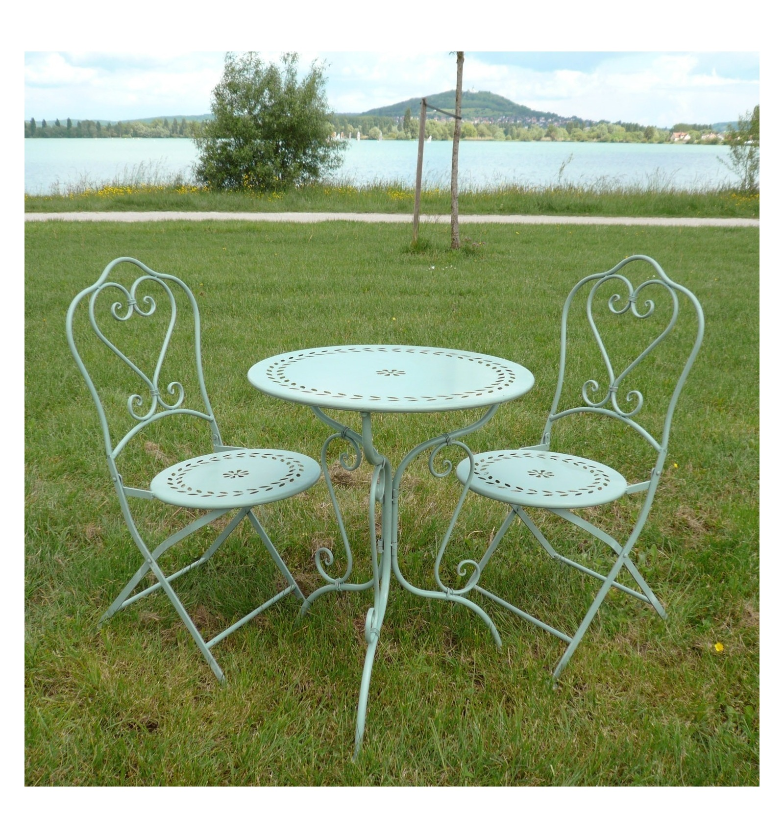 Table Bistrot Fer Forgé Set Of Bistro In Wrought Iron 1 Table 2 Chairs