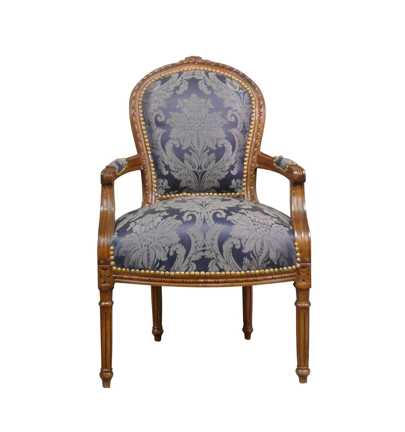 Fauteuil Hout Stoel Louis Xvi Blauw Massief Hout