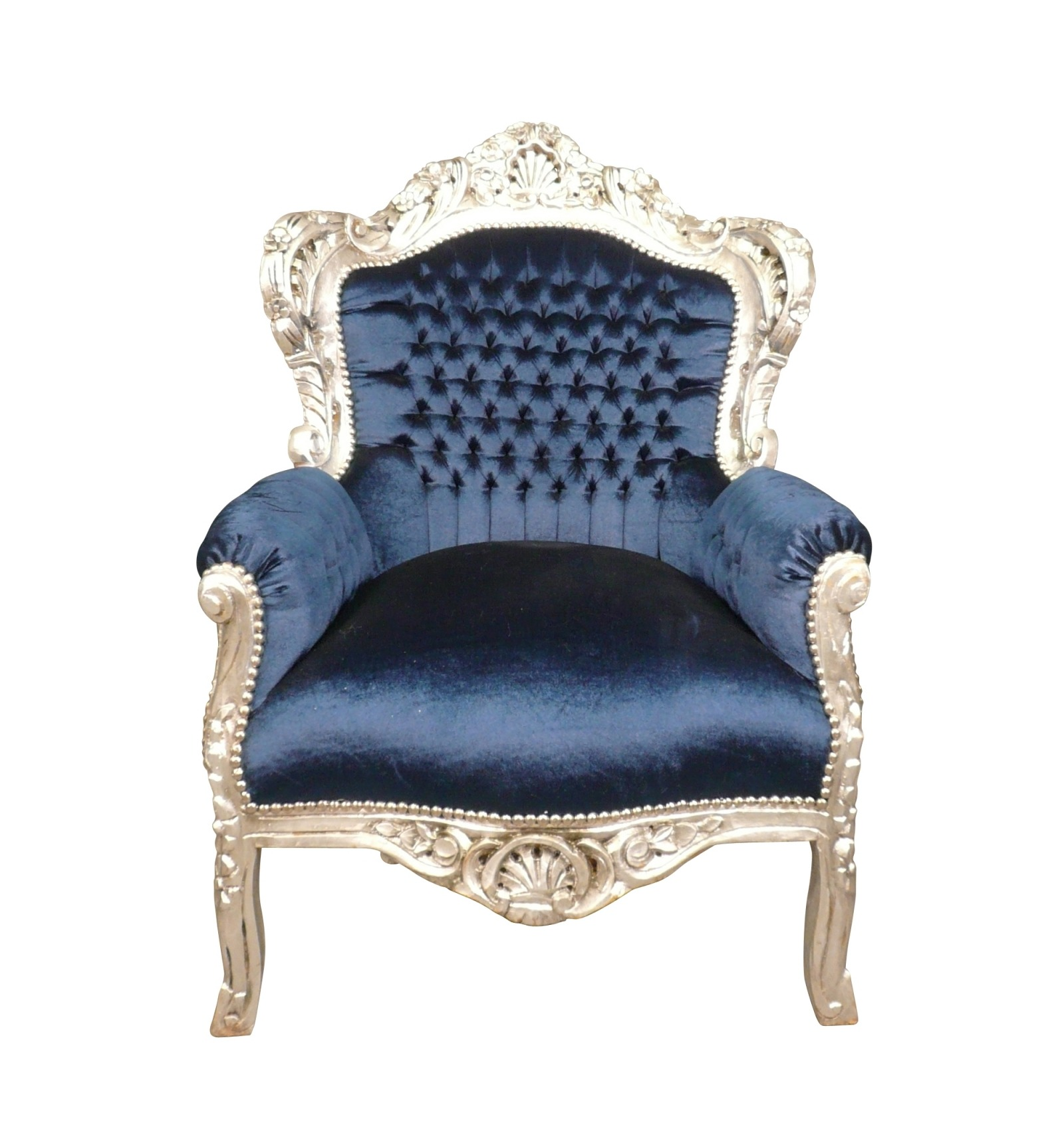 Sessel Madrid Barocker Sessel Aus Blauem Samt Royal Barocksessel