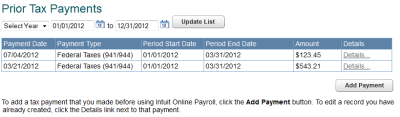 Enter prior tax payments and tax payments paid directly to agency