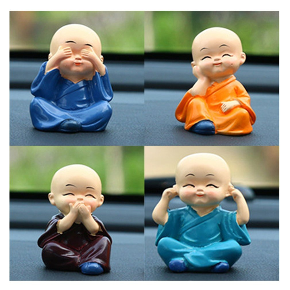 Toddler Car Dashboard Four Cute Kongfu Monk Toy For Car Interior Display Dashboard