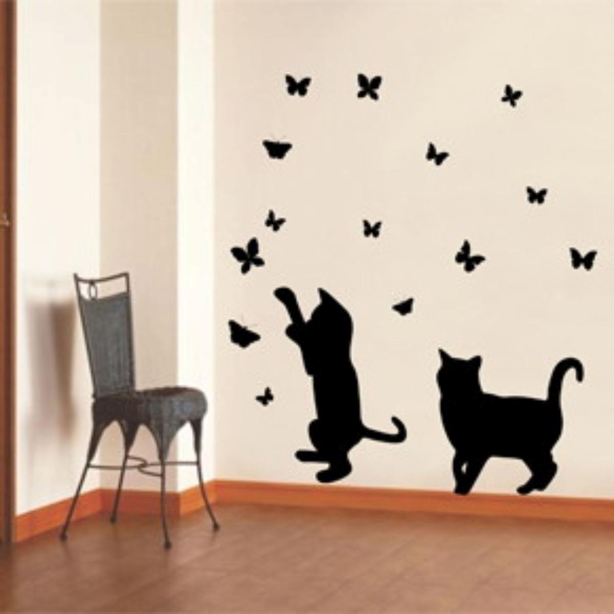 3d Wallpaper For Interior Decoration Adesivo Decorativo Parede Box Gato Passarinho Borboletas
