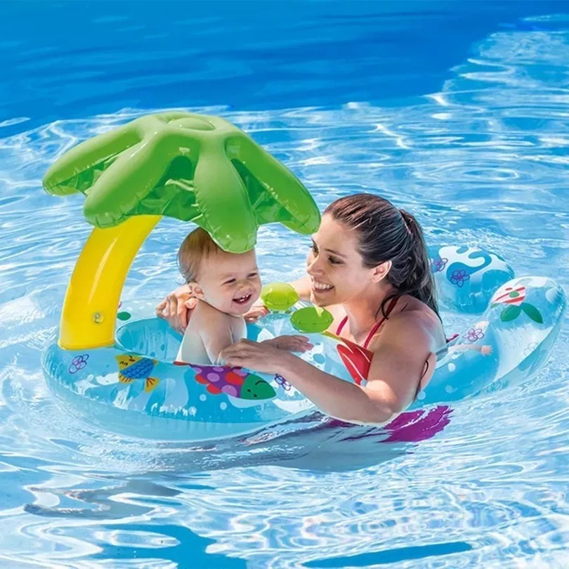 Piscina Intex Bebe Boia Com Cobertura Para Mamãe E Bebe Colorida Intex - R