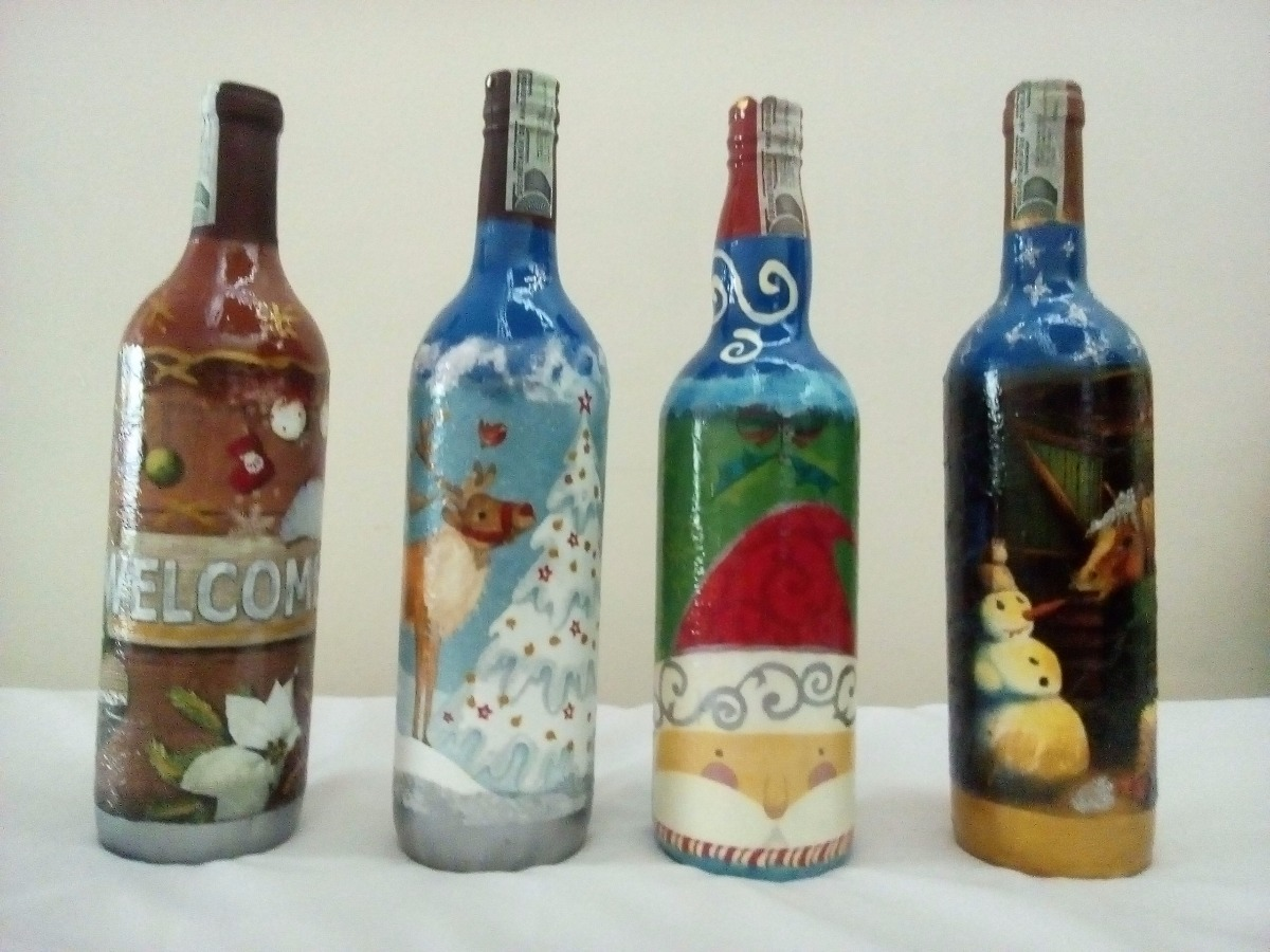 Comprar Botellas Decoradas Botella Decorada Con Motivos Navideños 15 000 En