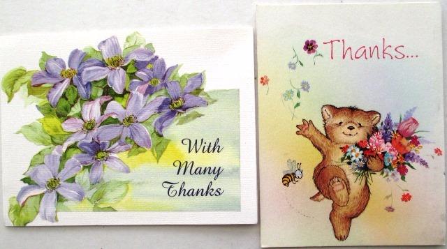 C0259 Dois Cartões De Agradecimento Um , Medindo 13cm X 10c - R$ 15