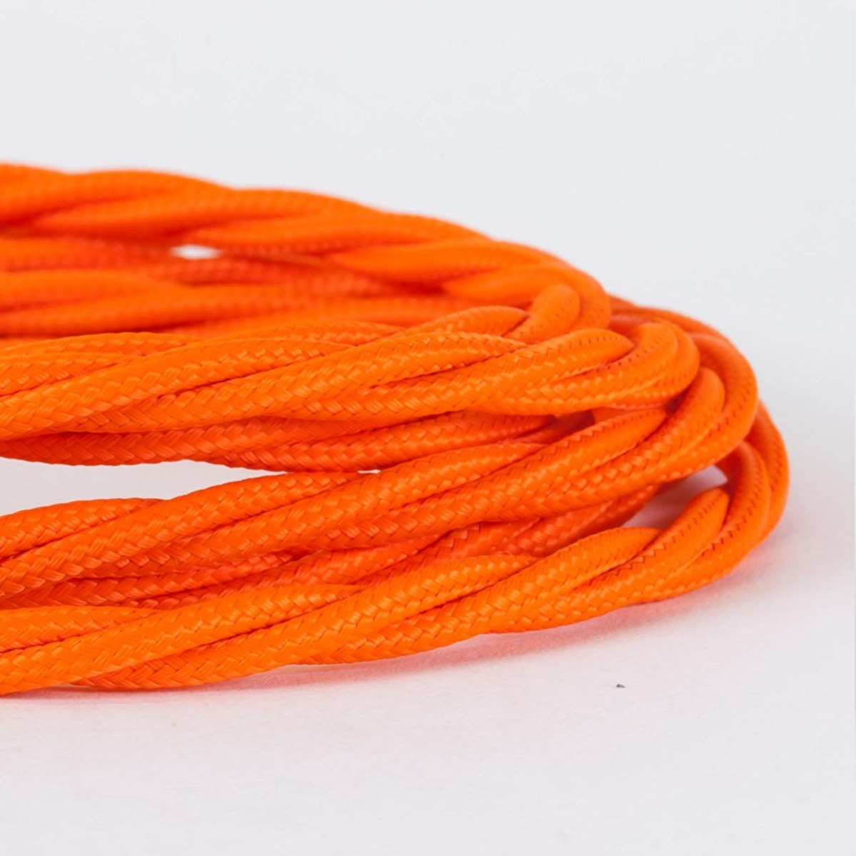 Cable Decorativo Cable Textil Vintage Electrico Decorativo Twisted Naranja