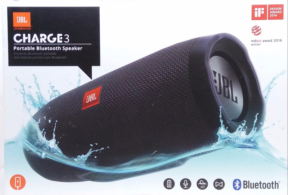 Jbl Charge3 Caixa De Som Jbl Charge 3 Bluetooth Cor Preta Original R