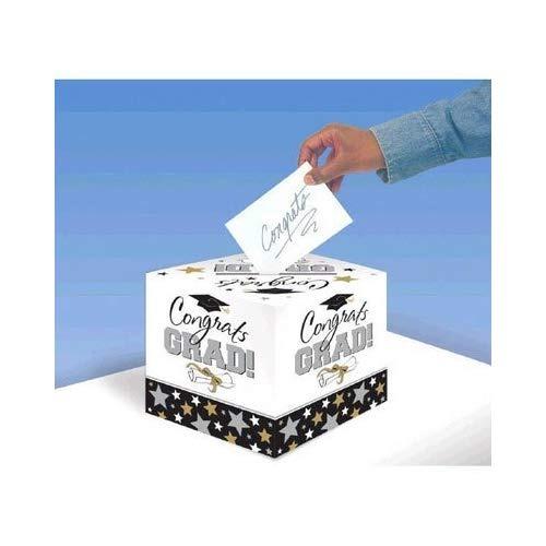 Caja Del Titular De La Tarjeta De Graduación Blanco Y Negro