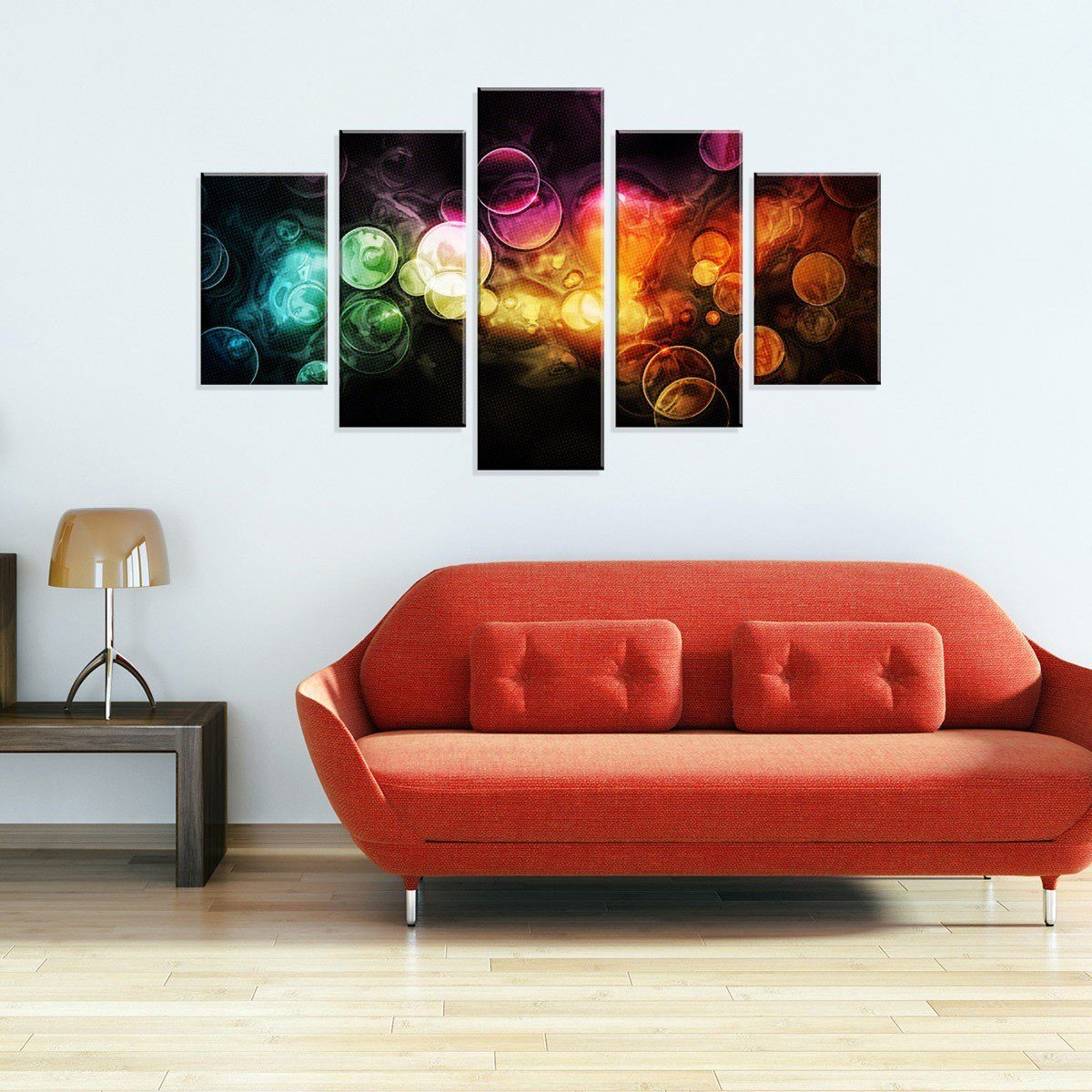 Conjunto De 5 Telas Decorativas Em Canvas Abstrato Bubbles R - Telas Decorativas