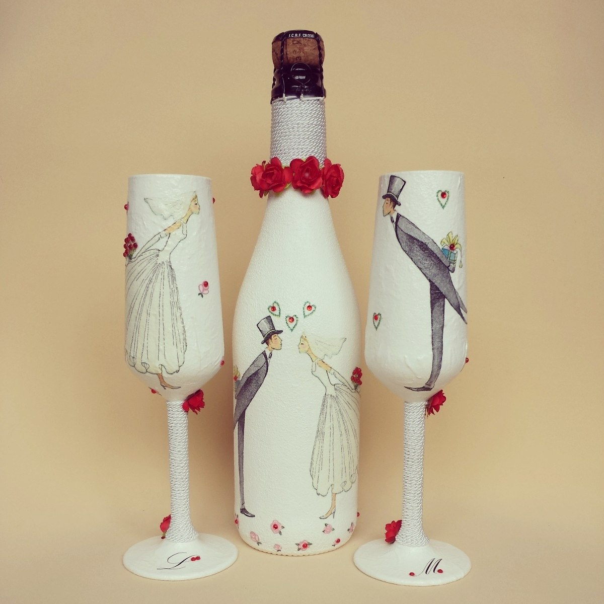 Botellas Decoradas Para 15 Copas Y Botella Para Boda Myweddingglasses 3 200 00