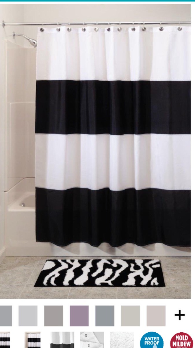 Amazon Cortinas Baño Cortina De Baño Blanco Y Negro Rayas Tipo Ikea De Amazon