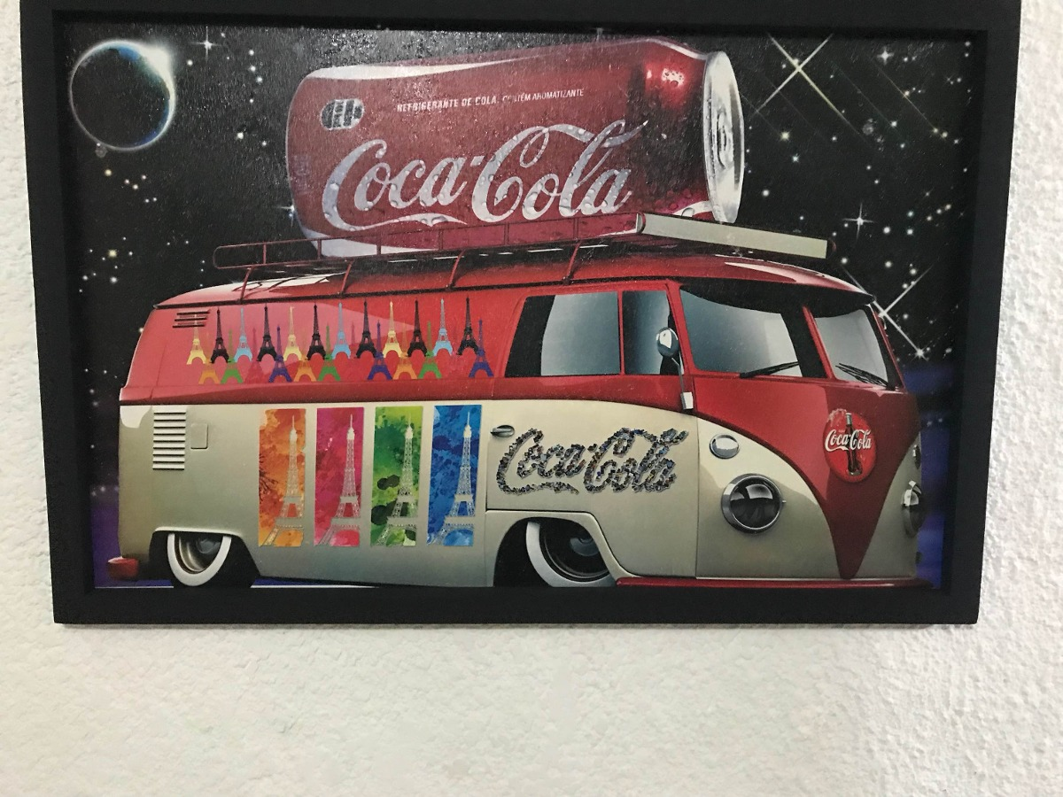 Cuadros Paris Cuadro Decorativo Combi Coca Cola Y Paris Vw - $ 285.00 En