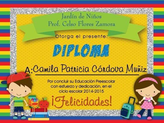 Diplomas Para Graduacion Preescolar Bs 500 00 - Classy World