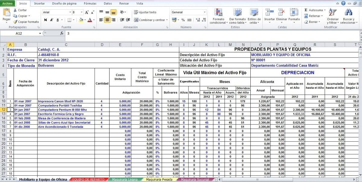 Formato En Excel De Calculo De Depreciacion Activos - Bs 11000,00