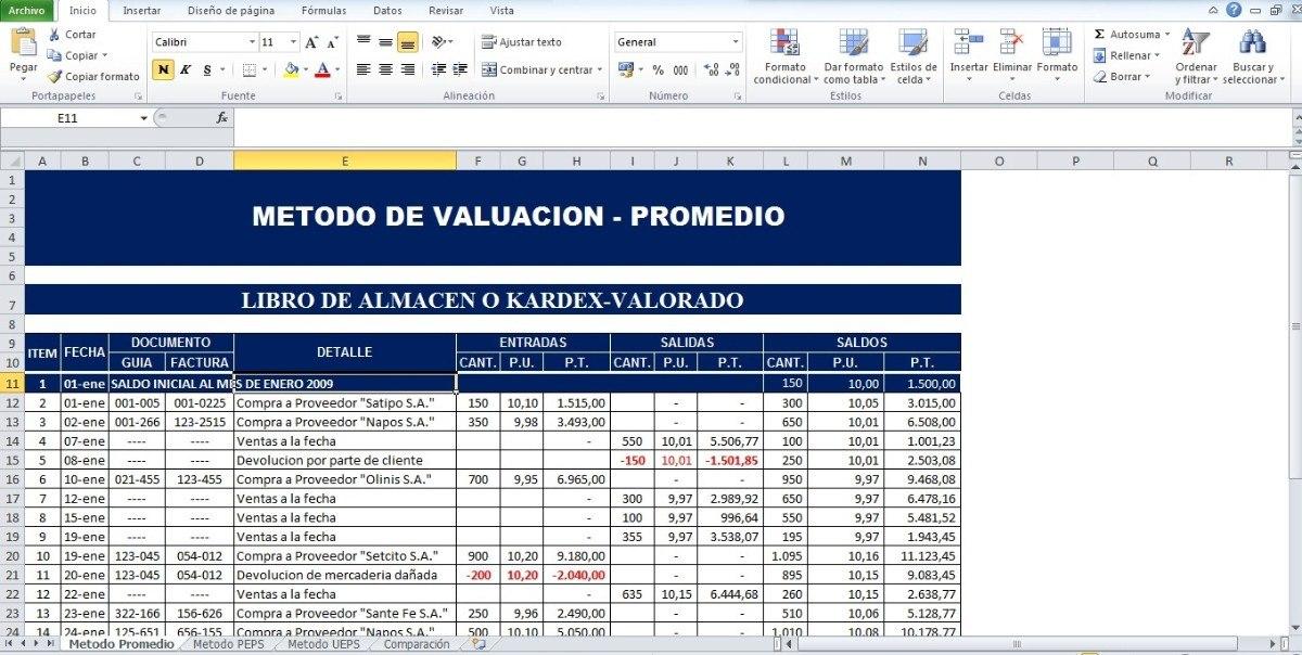 Formatos En Excel De Metodos De Valoracion De Inventario - Bs - formato inventario en excel