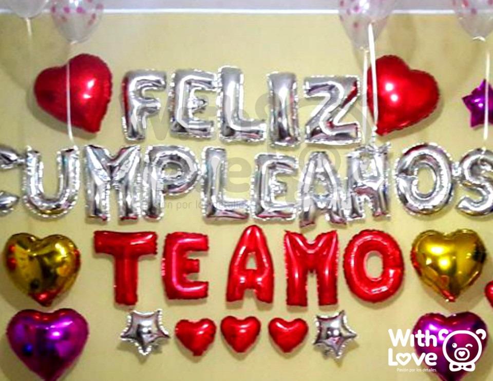 Globos Letras Metalicos Feliz Cumpleaños / Dorado Y Plateado - S/ 35