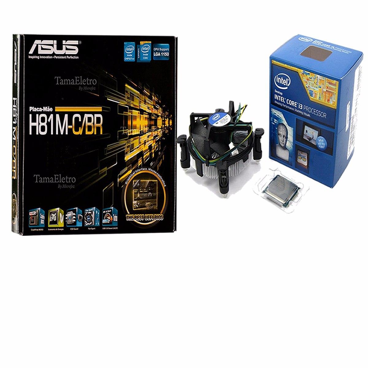 Kit asus h81m c br lga1150 processador intel core i3 4170