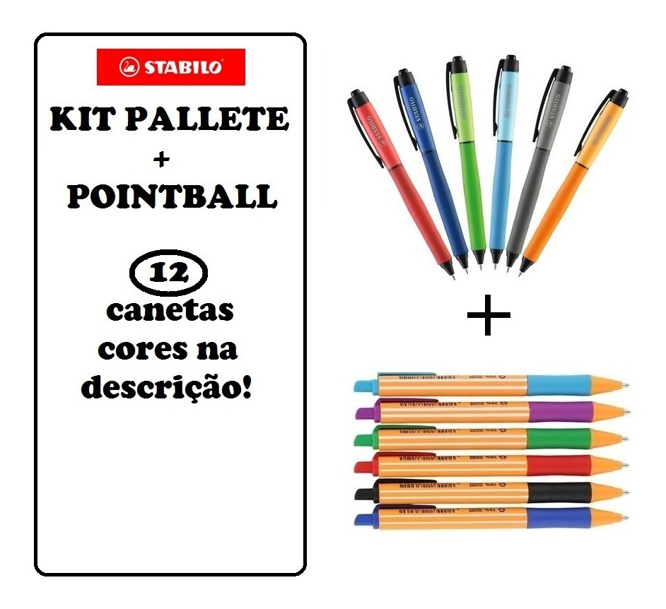 Stabilo Pointball Kit C 6 Stabilo Pointball 5 Canetas Gel Stabilo Palette