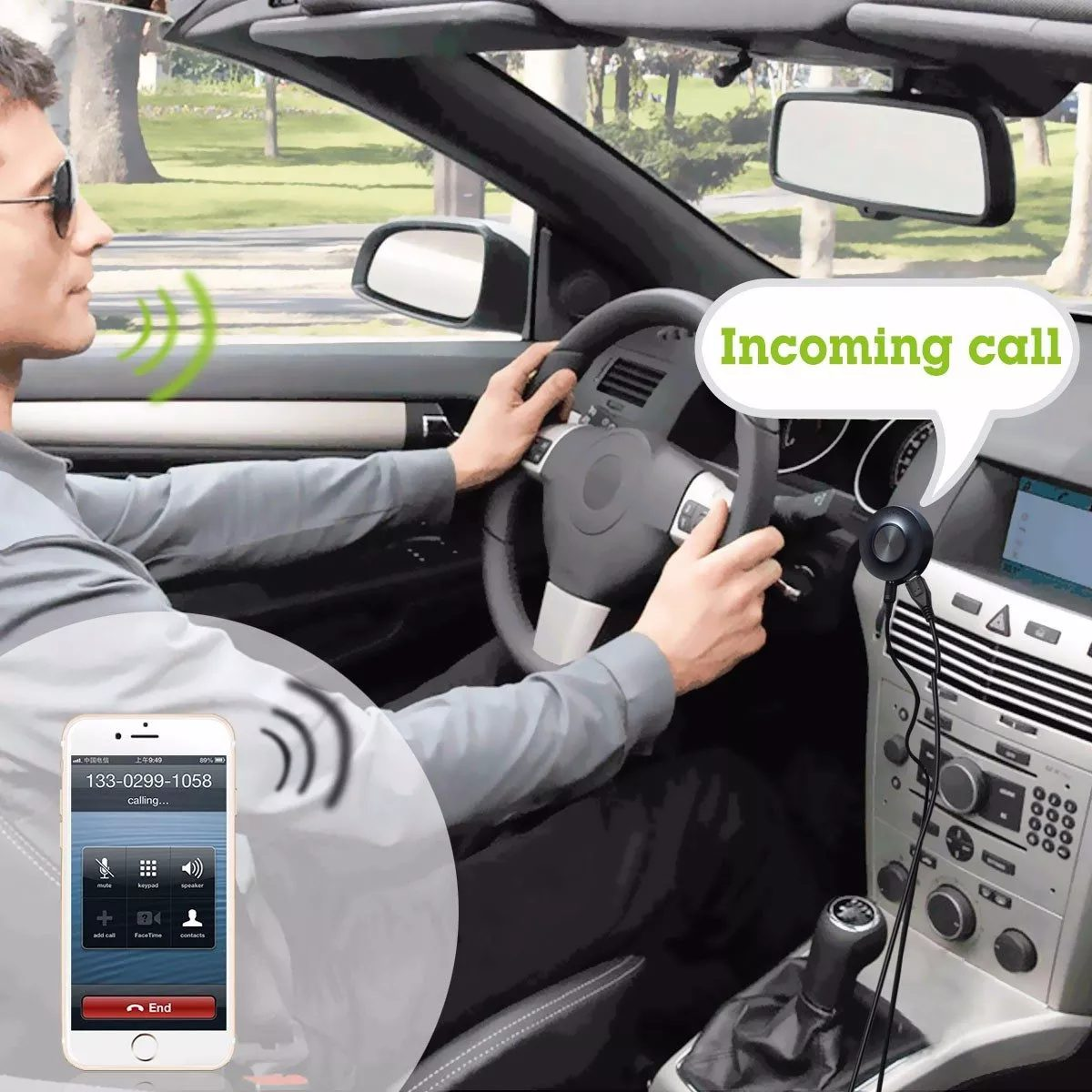 Manos Libres Bluetooth Para El Coche Kit Carro Receptor Manos Libres Bluetooth Avantree Cara