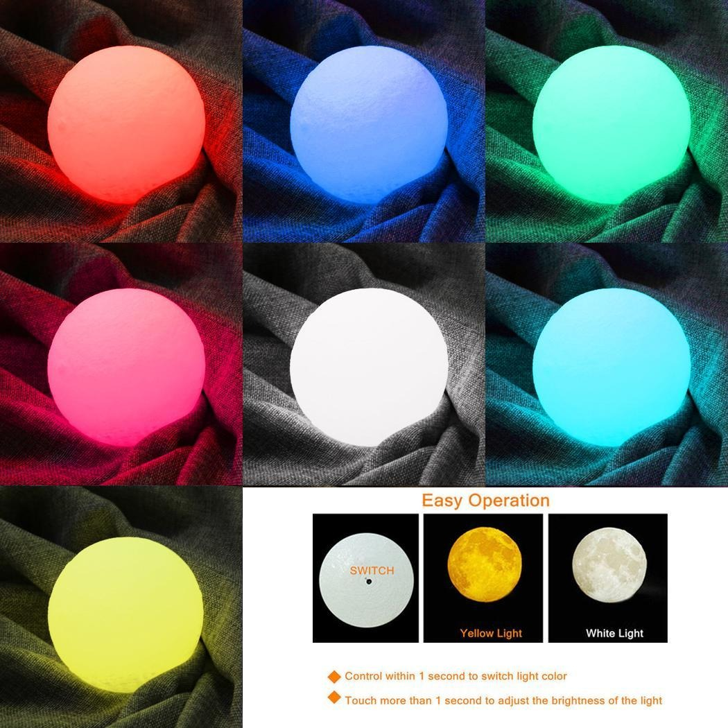 Lampara Led Colores La Lámpara Led De La Luna 3d Brillo Ajustable De 16 Color