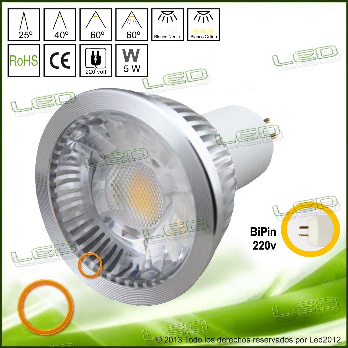 Lamparas Led 220 Lámpara Dicroica Led 5 Watt Alta Luminosidad 220 Volt