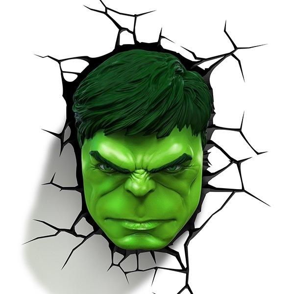 Np Name 3d Wallpaper Lampara Para Pared 3d Cabeza De Hulk Marvel Disney